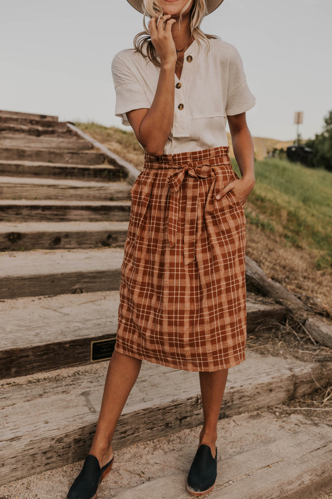 Plaid Tie Waist Skirt | ROOLEE