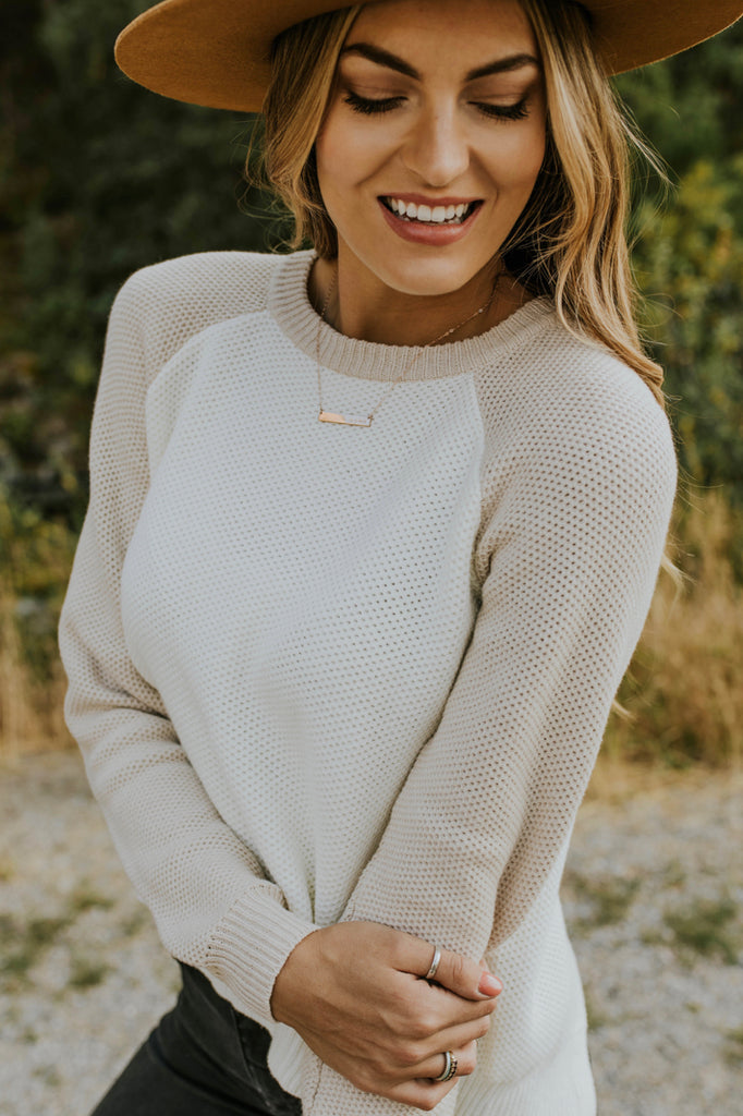 Long Sleeve Knit Sweater in Cream | ROOLEE