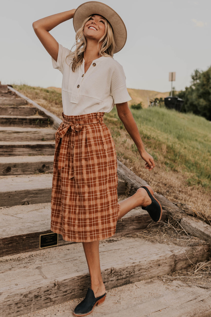 Pleated Plaid Midi Skirt | ROOLEE
