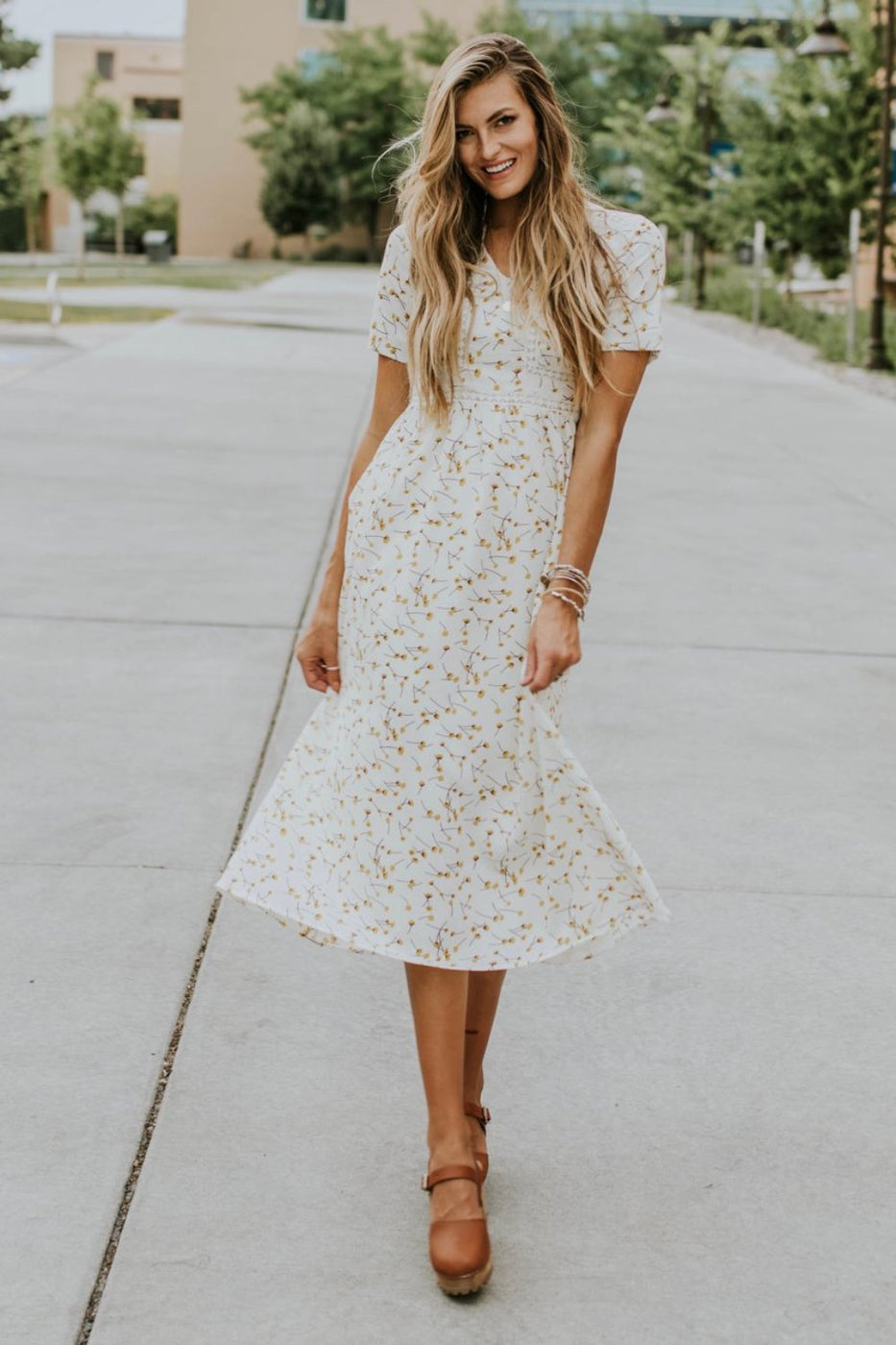 White + Yellow Floral Print Dress | ROOLEE