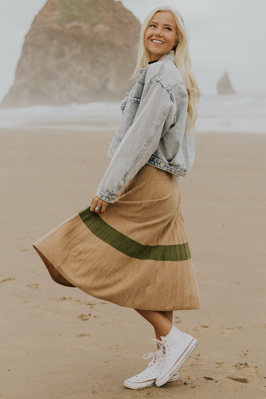 Cute pleated tan sweater | ROOLEE