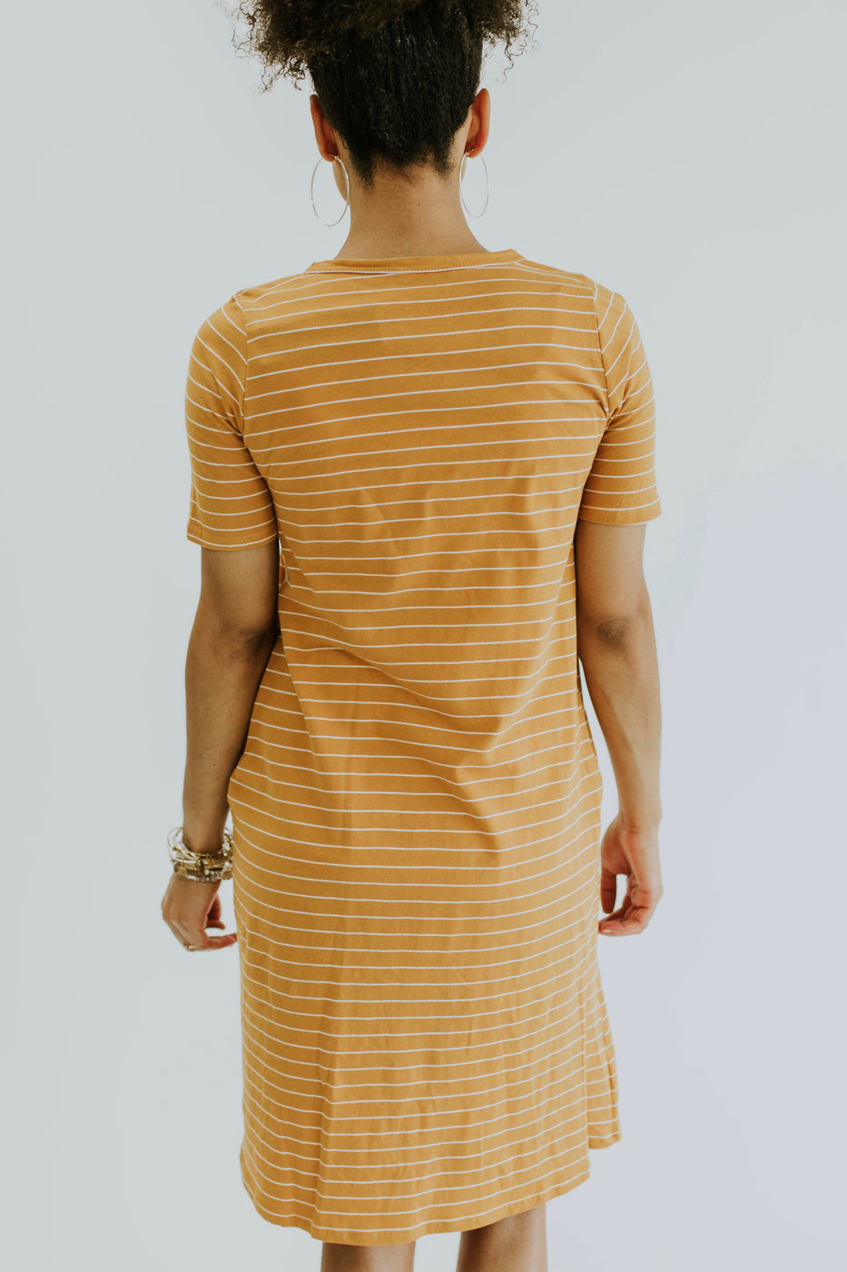 Simple Stripe Nursing Friendly Dress in Honey | ROOLEE