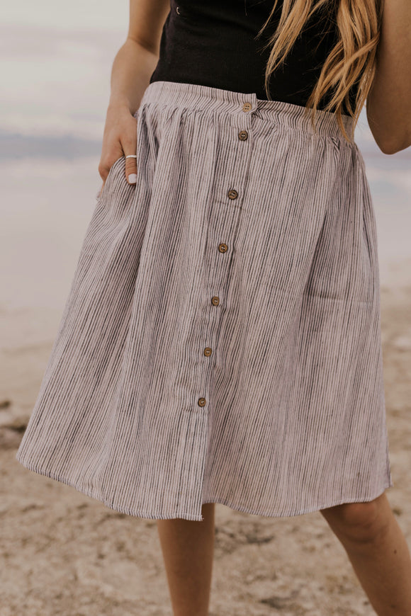 Stripe Button Skirt | ROOLEE
