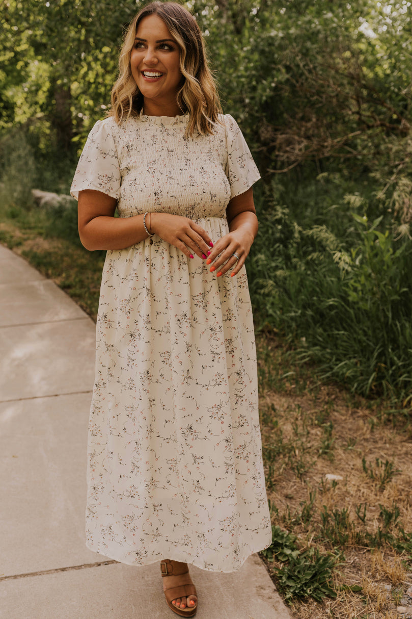 White Floral Maxi Dress | ROOLEE