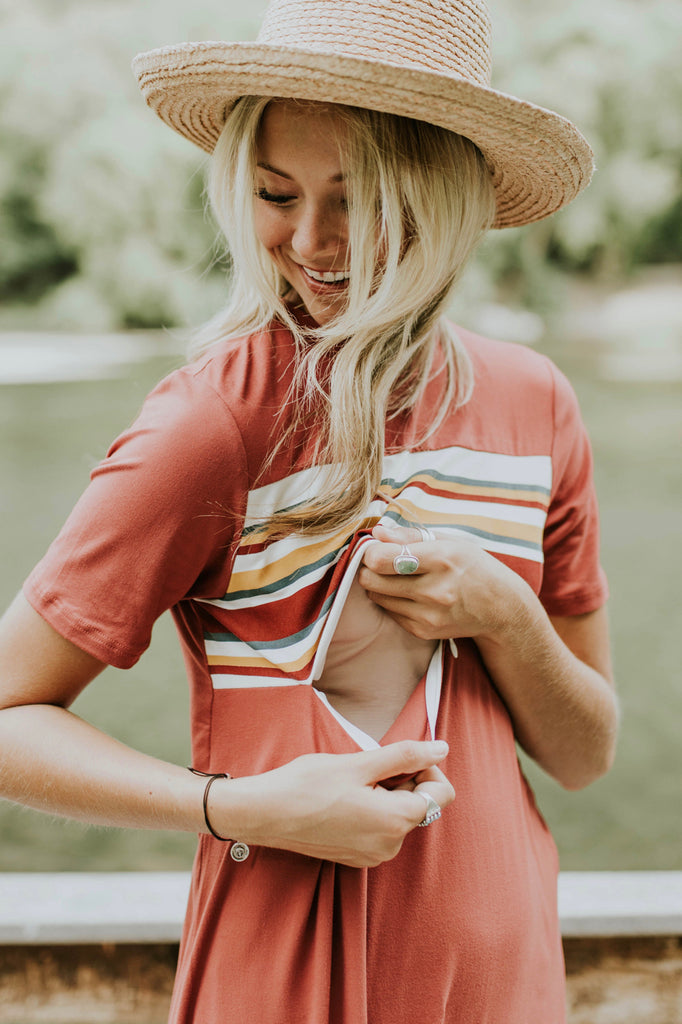 Retro Stripe Nursing Friendly Dress | ROOLEE