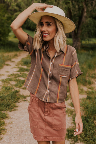 Stripe Button Up Shirt for Women | ROOLEE