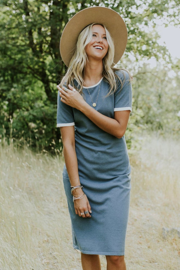 Aberdeen Sweater Dress in Teal | ROOLEE