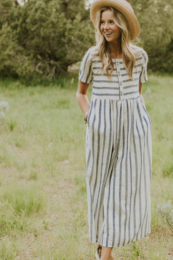 Montgomery Stripe Maxi in Royal Blue | ROOLEE