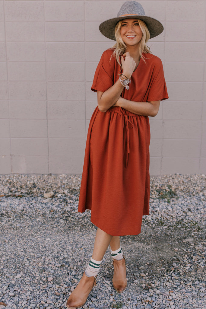 Rust-Colored Tie Dress | ROOLEE
