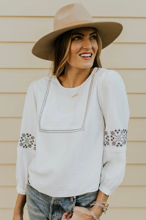 Embroidered Blouse Outfit | ROOLEE