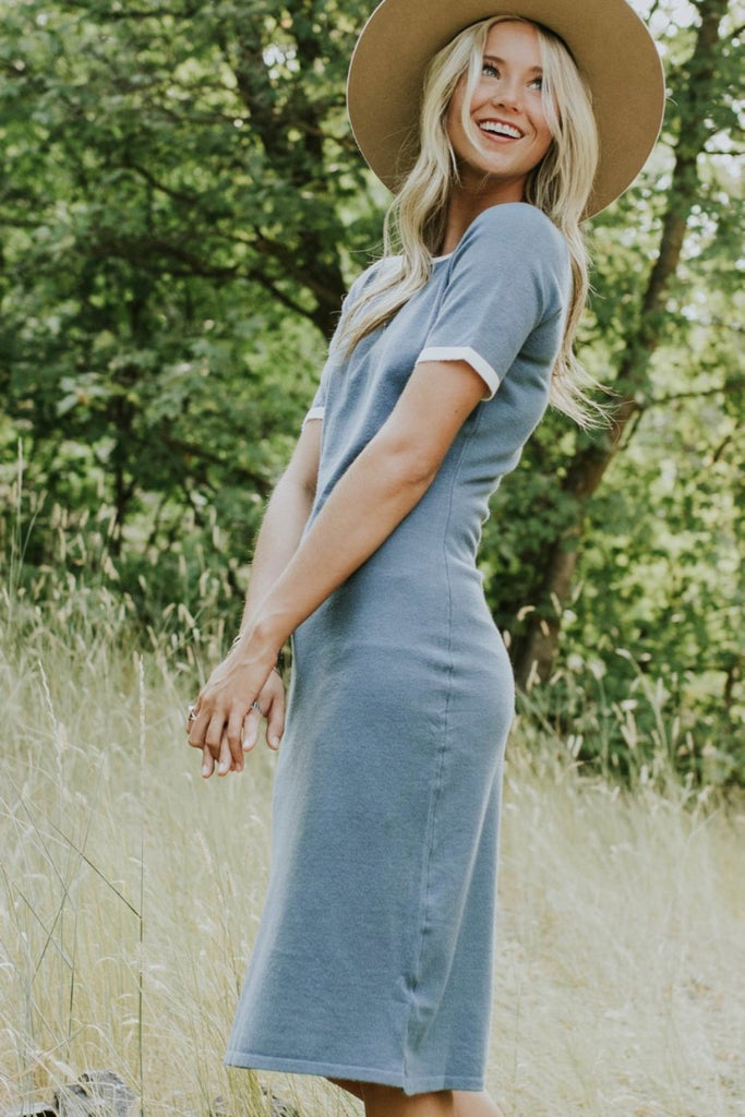 Teal Sweater Dress Outfit | ROOLEE