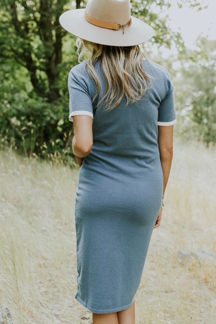 Fine-Knit Summer Dress in Teal | ROOLEE