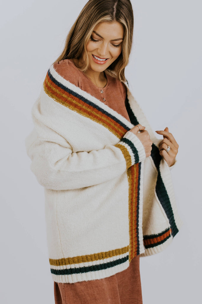 Thick Knit Stripe Cardigan | ROOLEE