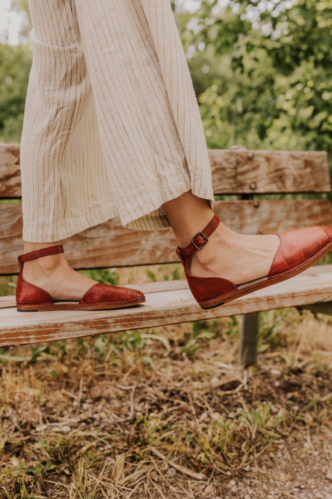 Stylish Ankle Strap Flats | ROOLEE