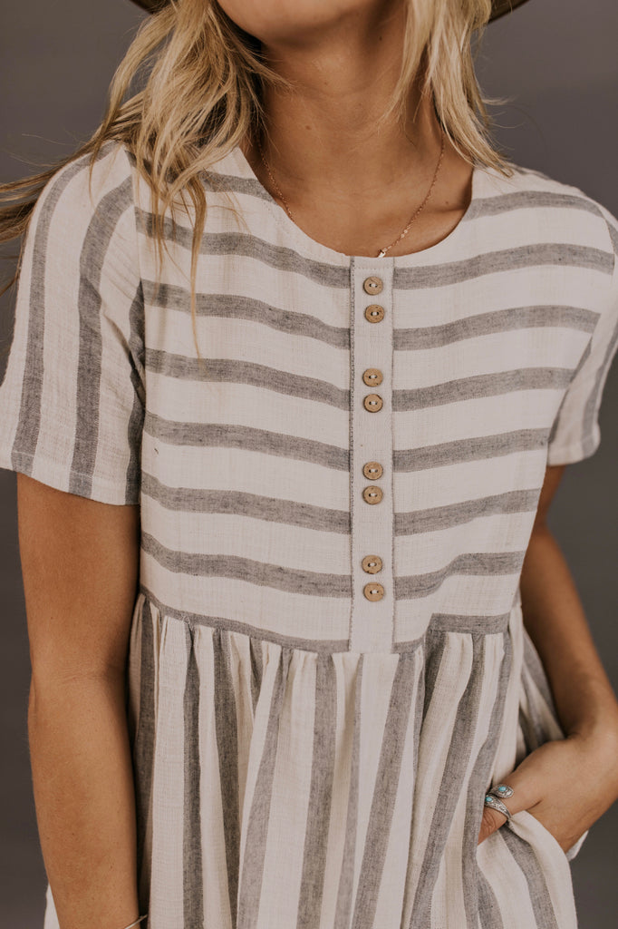 Grey and white stripe dress | ROOLEE