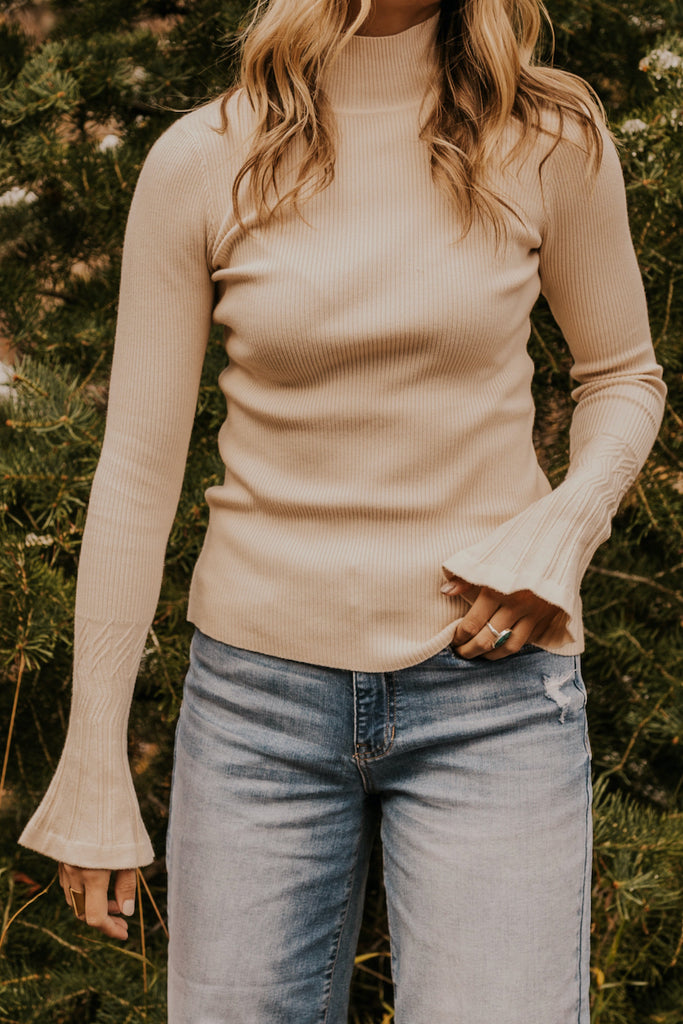 Mock Neck Cream Cozy Blouse with Bell Sleeves for Women | ROOLEE