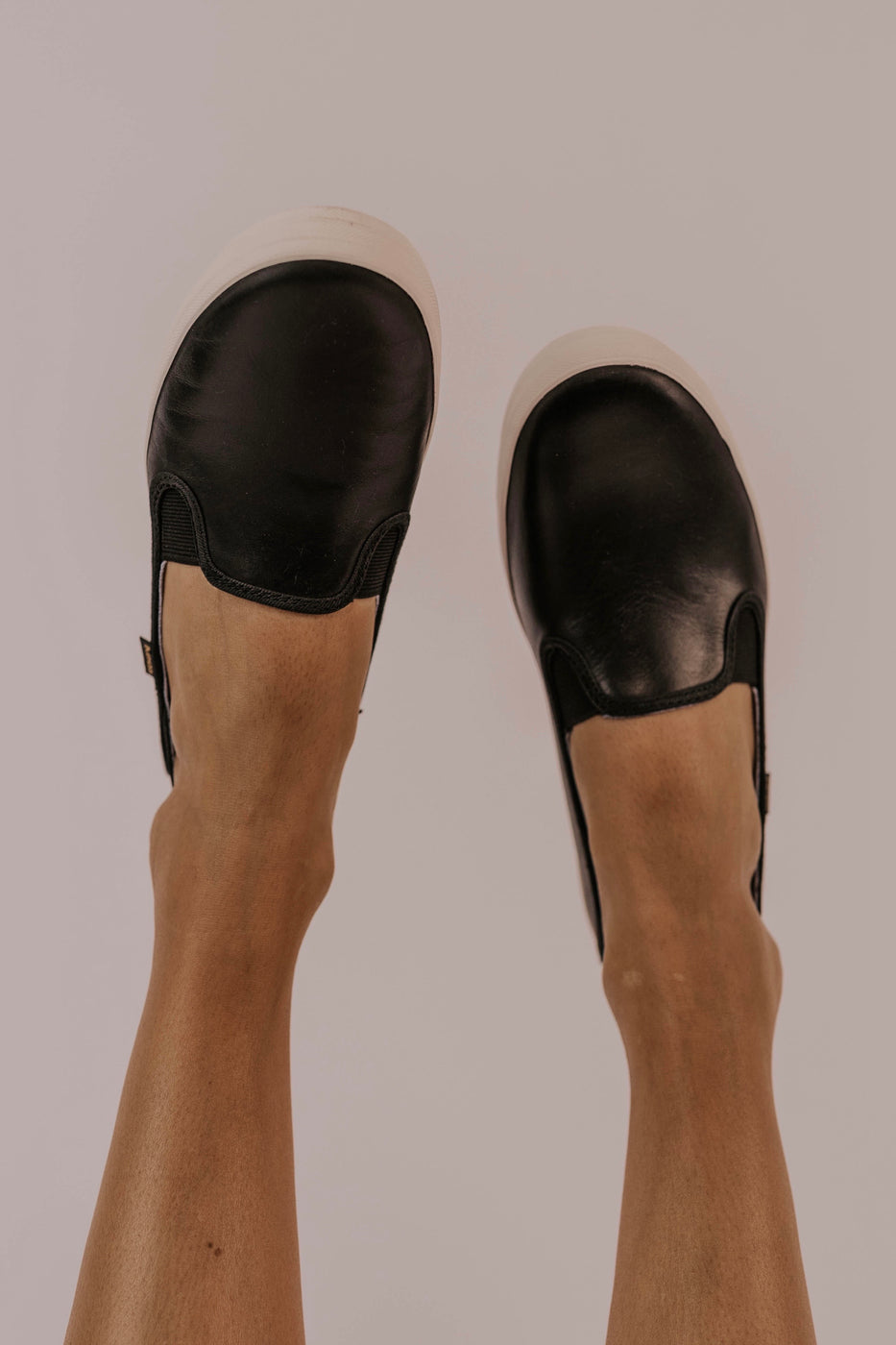 Black Leather Keds | ROOLEE
