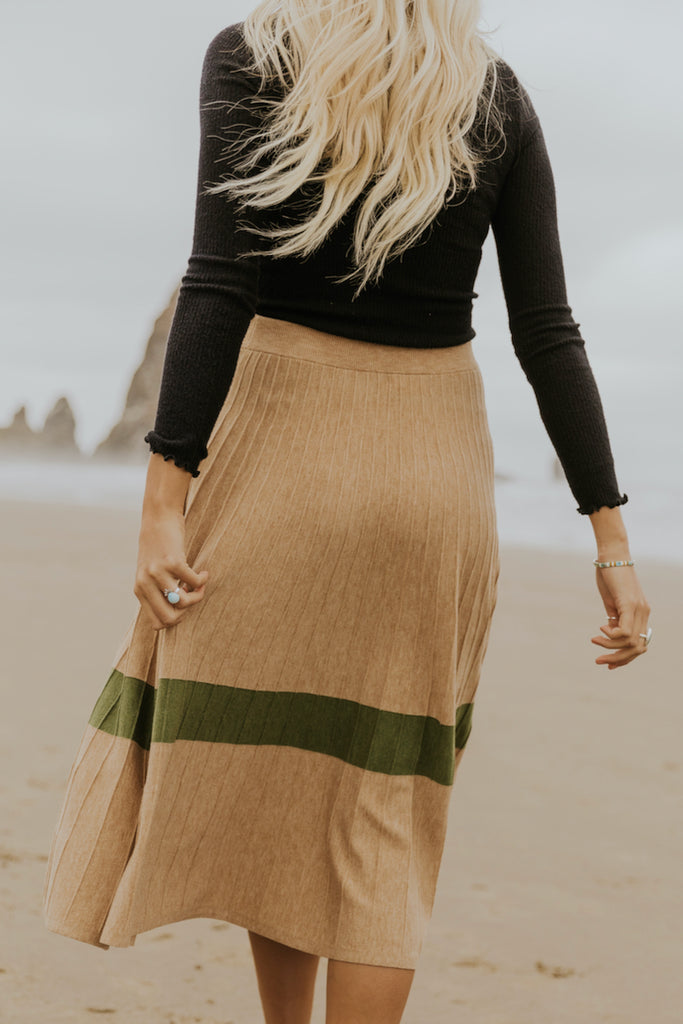 Green stripe tan skirt | ROOLEE