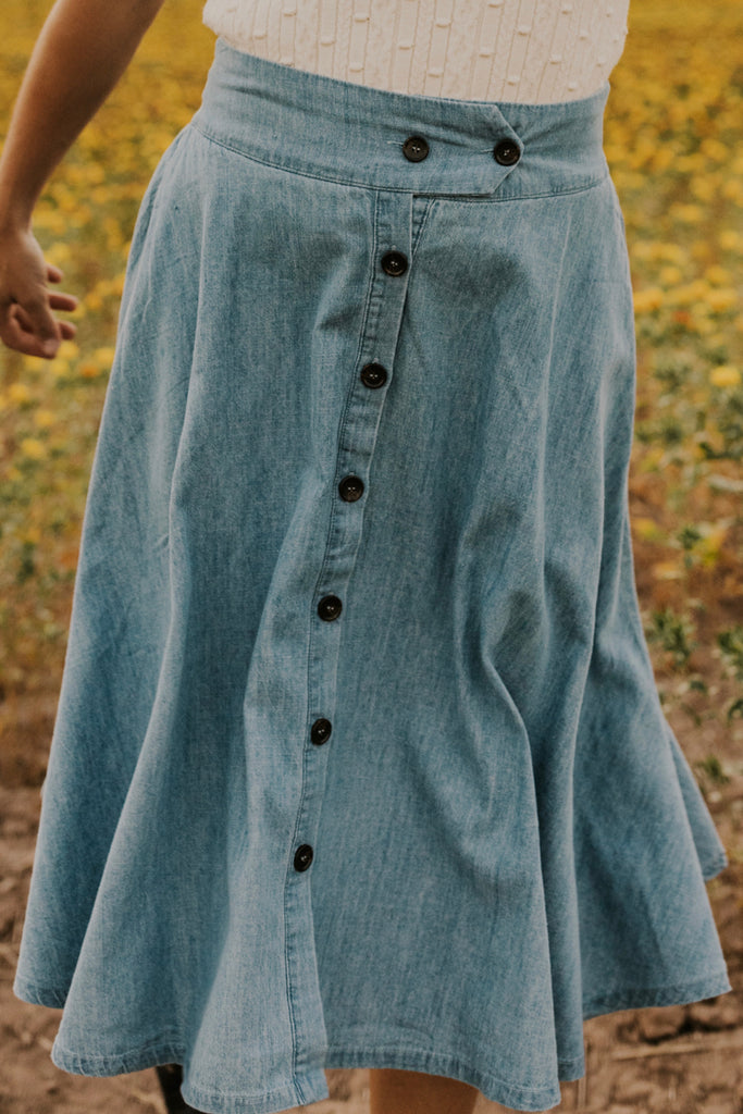 Denim Button Midi | ROOLEE