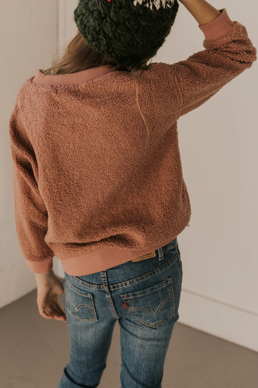 Soft Pink Sherpa Girls Pullover | ROOLEE