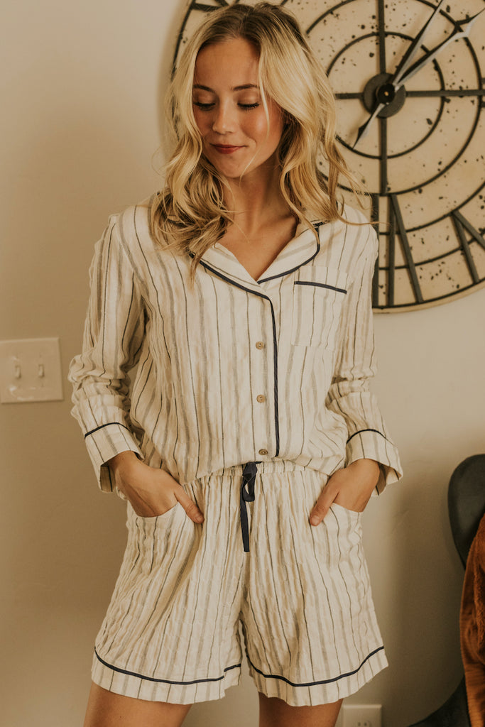 Sleep On It Striped Pajama Top