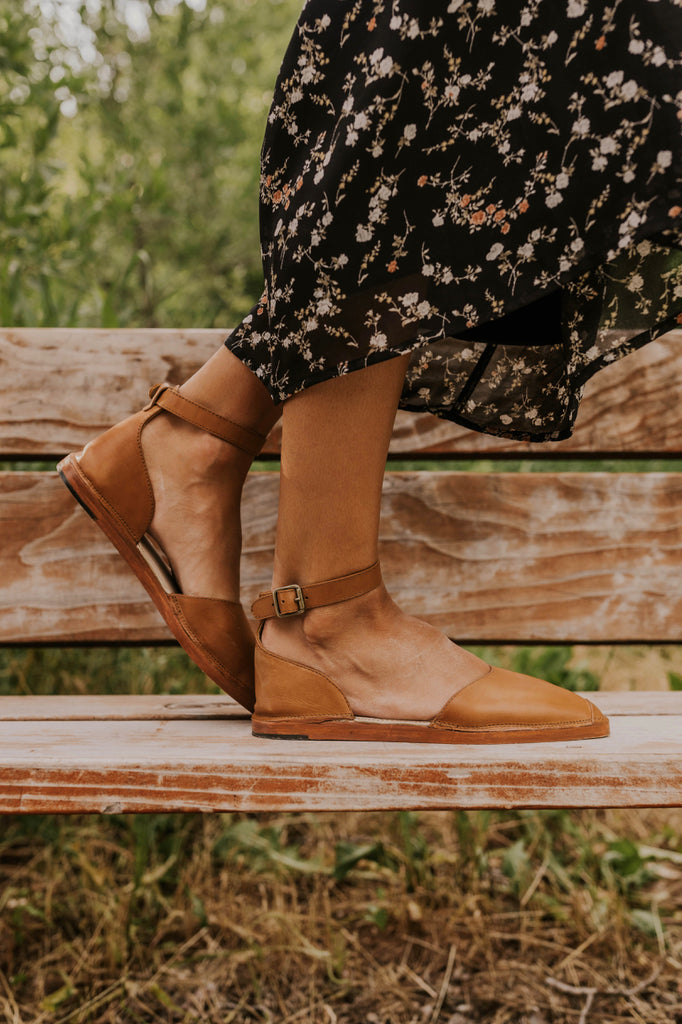 Tan Ankle Strap Flats | ROOLEE