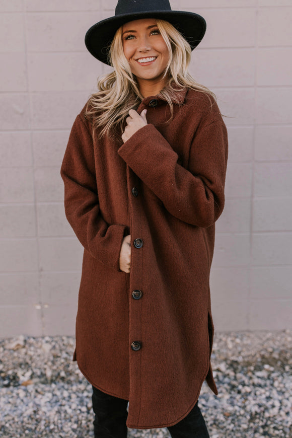 Rust Colored Wool Overcoat | ROOLEE