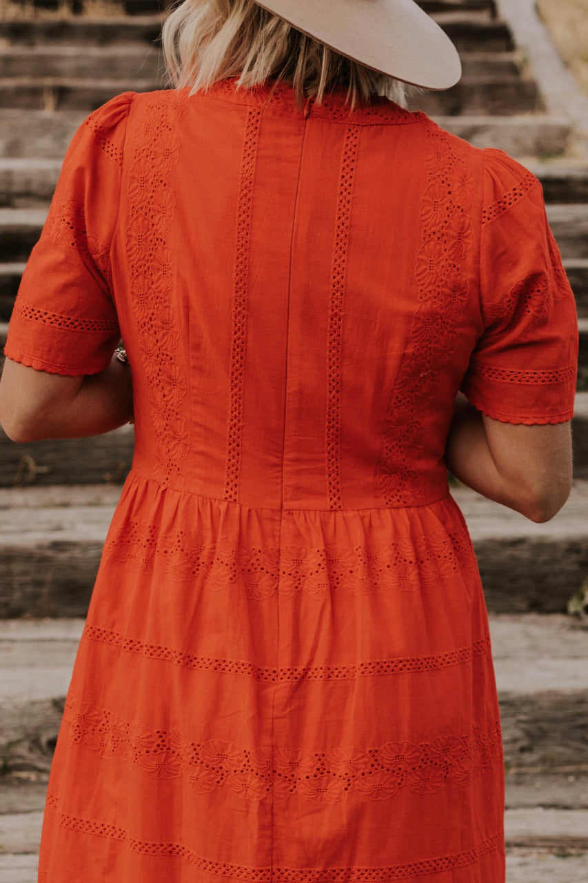 Red Lace Detail Dress | ROOLEE