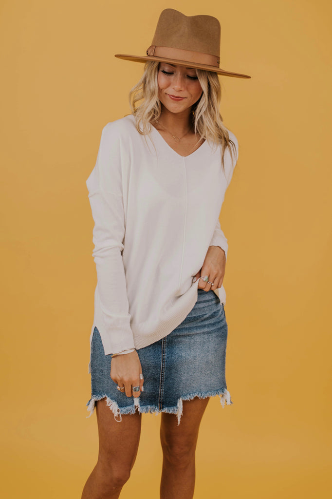 Oversized White Sweater | ROOLEE