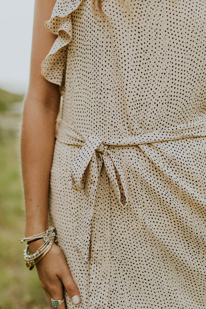 Taupe Dress w/Navy Spots | ROOLEE
