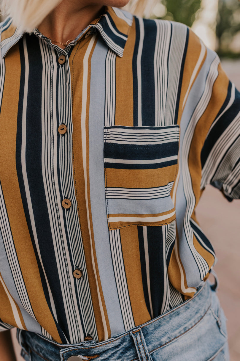 Gold and Blue Stripe Dress | ROOLEE