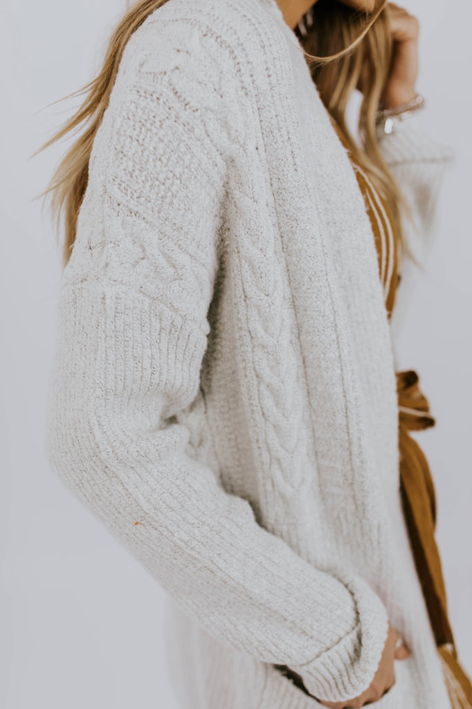 Ivory Detail Cardigan Sweater With Pockets | ROOLEE
