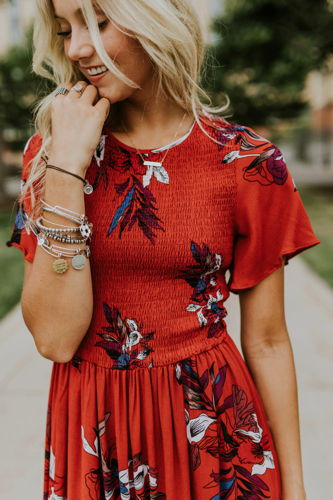 Madison Marie Floral Dress in Red | ROOLEE