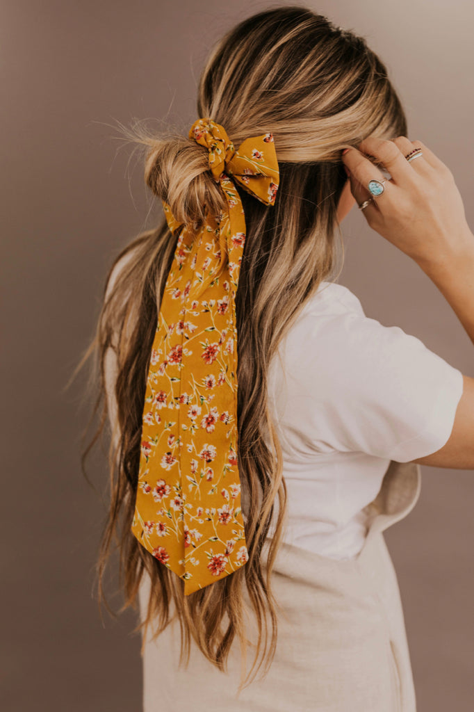 Yellow Floral Hair Tie | ROOLEE