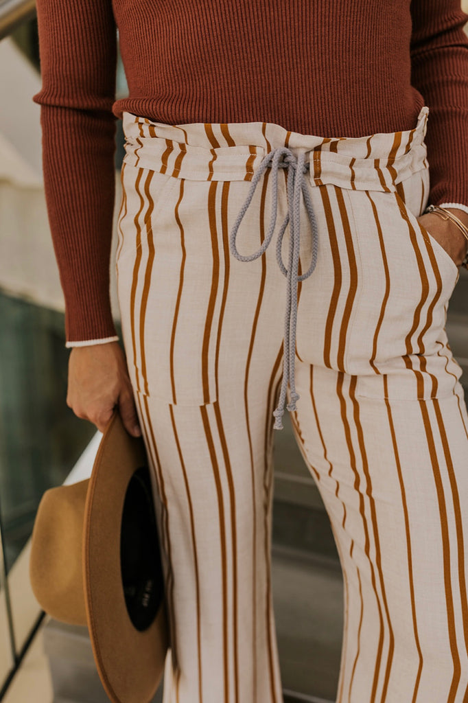 Cream Striped Pants | ROOLEE