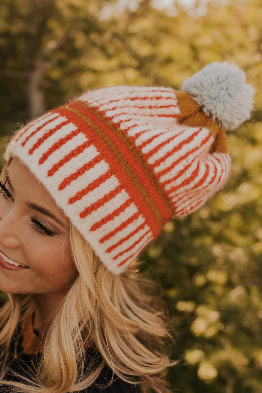 Orange Stripe Cream Pom Beanies | ROOLEE