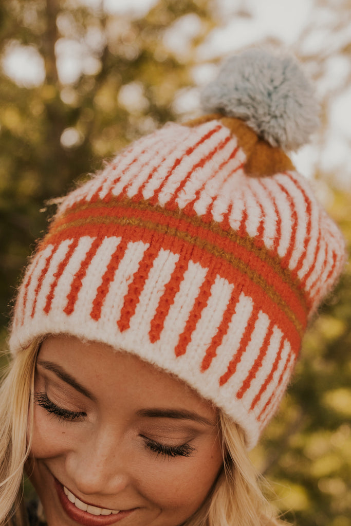 Orange Stripe Variety Pom Beanie | ROOLEE
