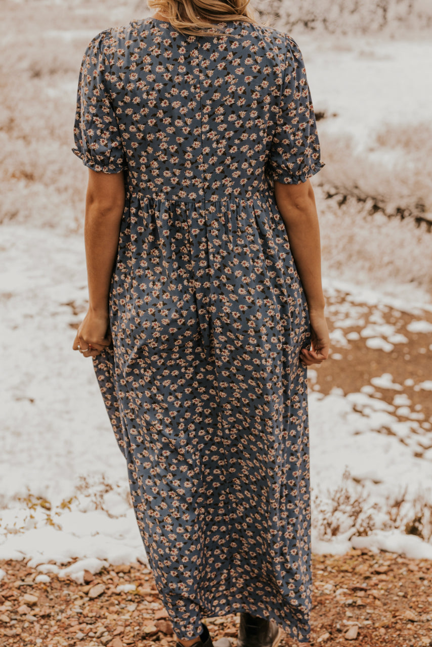 MOM Blue Floral Print Maxi Dress | ROOLEE