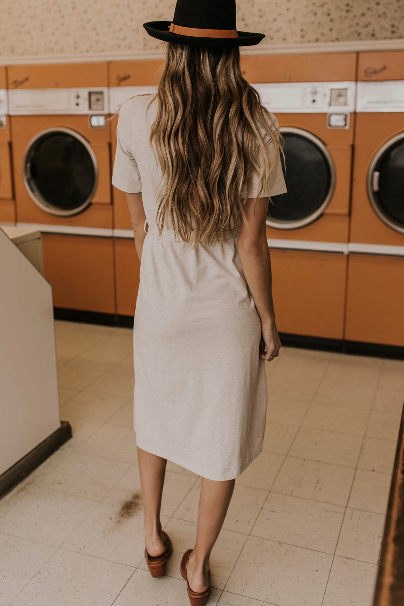 Ivory Midi Tie Waist Dress Outfit Ideas | ROOLEE