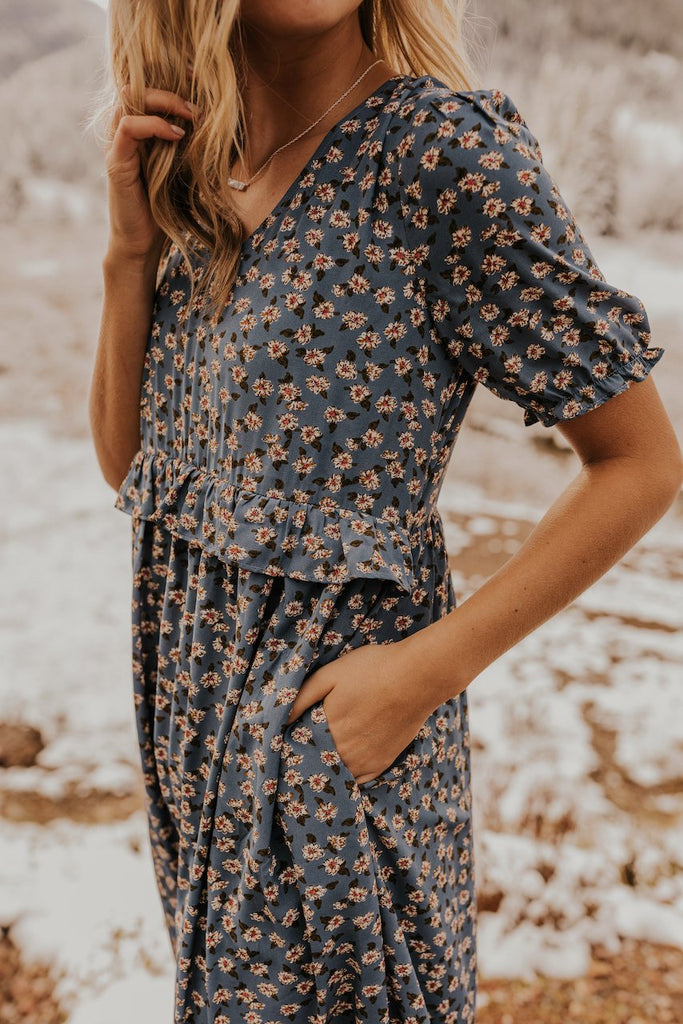 Maternity Blue Print Ruffle Floral Dress | ROOLEE