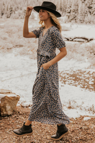 Blue Print Floral Maxi Dress | ROOLEE