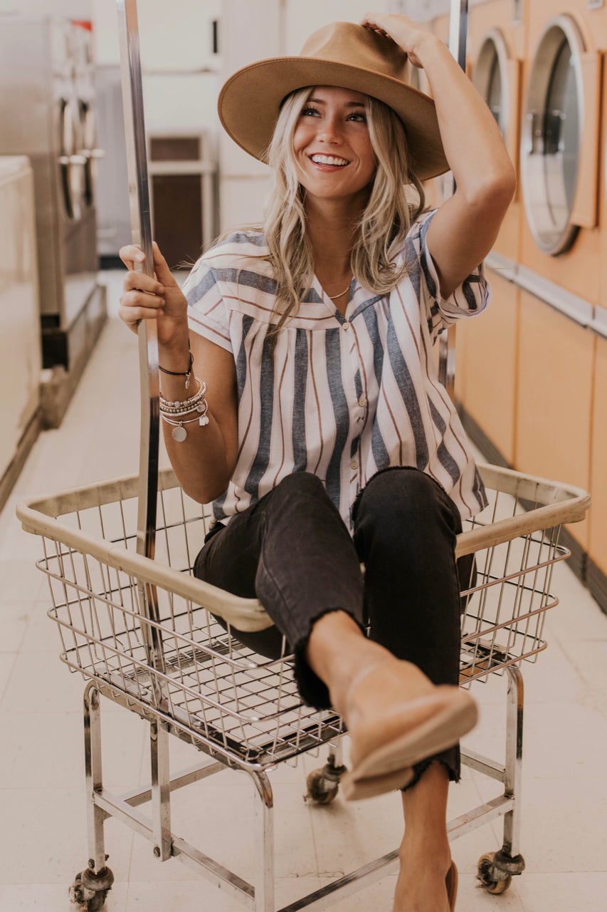 Blue Striped Button Down Top Outfit Ideas | ROOLEE