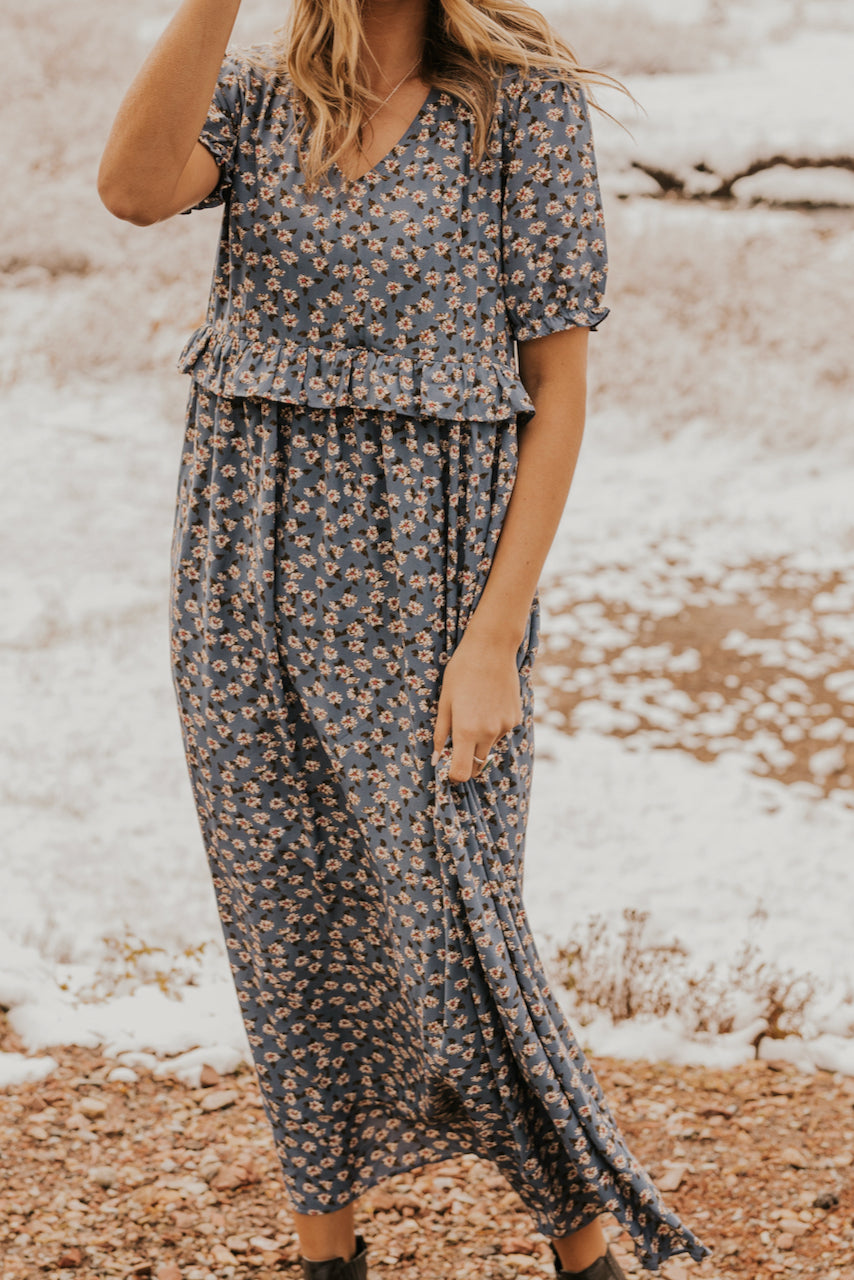 Flowing Blue Floral Print Spring Mom Dresses | ROOLEE