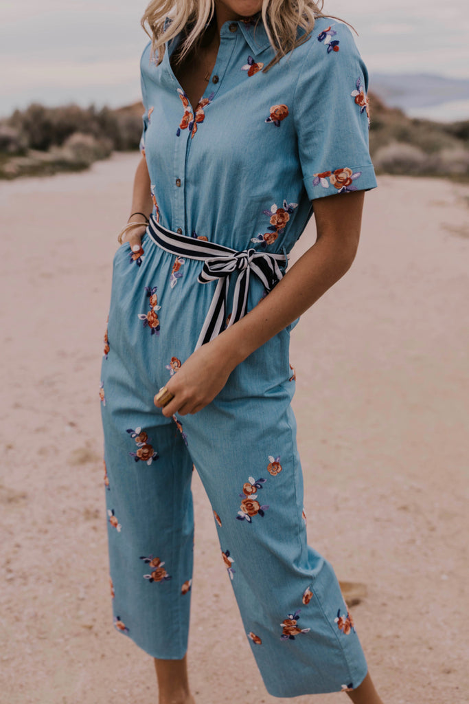 Embroidered Denim Jumpsuit | ROOLEE