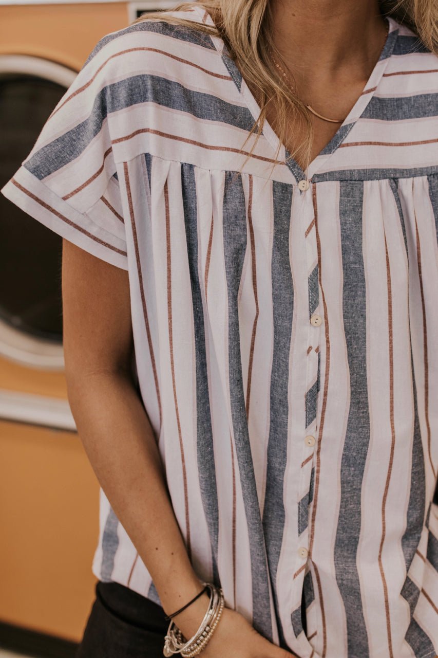 Striped Button Down Tee Outfit | ROOLEE