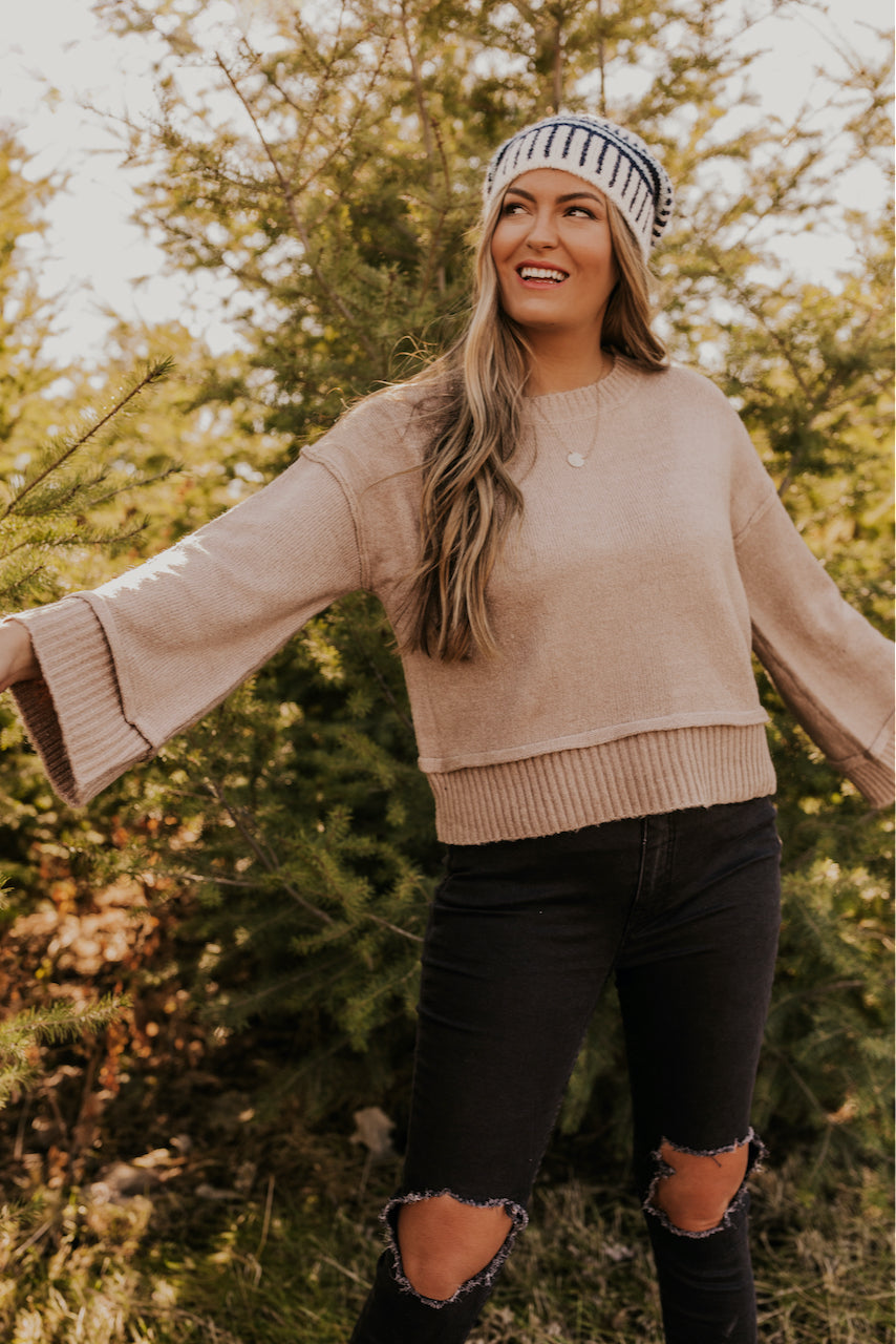 Taupe Knitted Sweater | ROOLEE