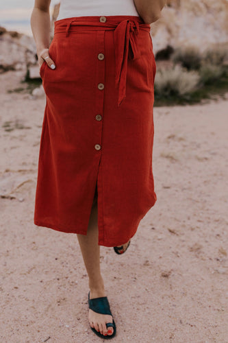 Red Button Skirt | ROOLEE