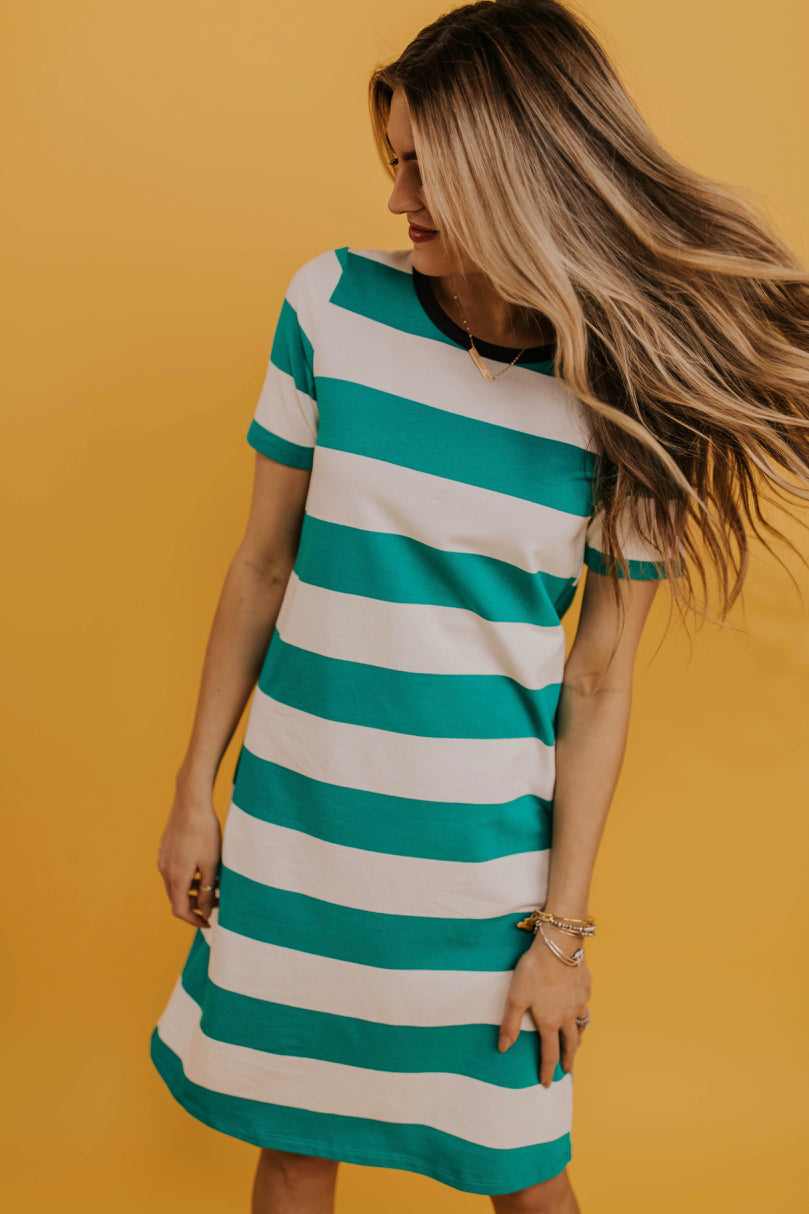 Green Contrast Dress | ROOLEE