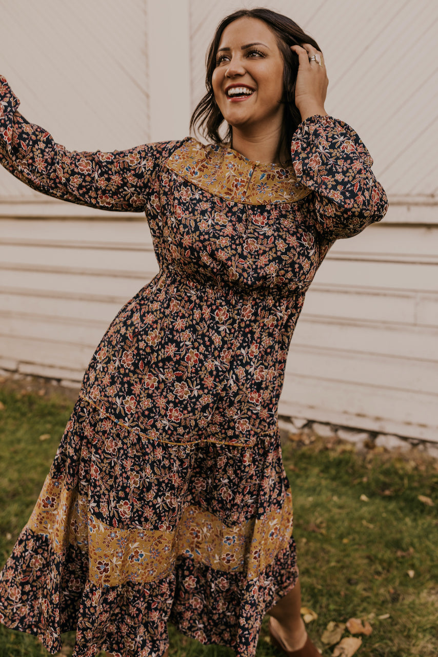 Cute Blue and Mustard Floral Dress | ROOLEE