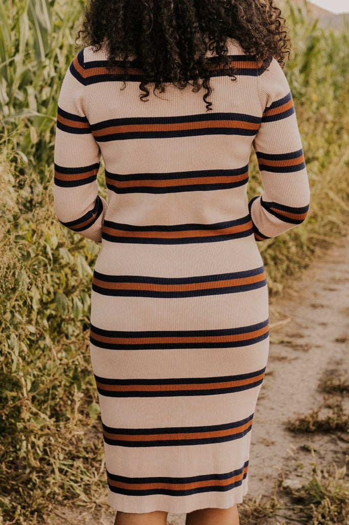 Muted Stripe Maternity Dress for Fall | ROOLEE